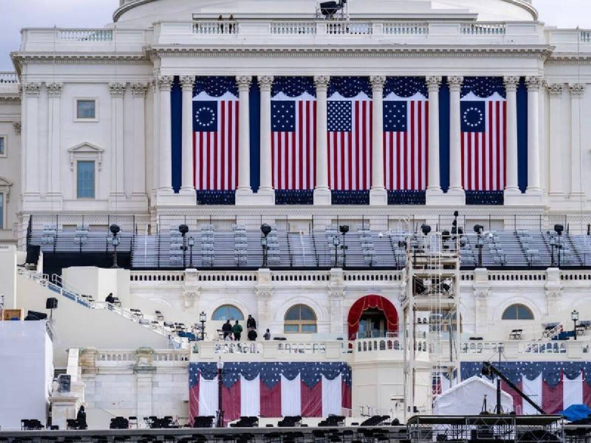 หน้าอาคารรัฐสภาฝั่งตะวันตกจะเป็นสถานที่จัดพิธีสาบานตนรับตำแหน่งประธานาธิบดีในวันที่ 20 ม.ค.นี้