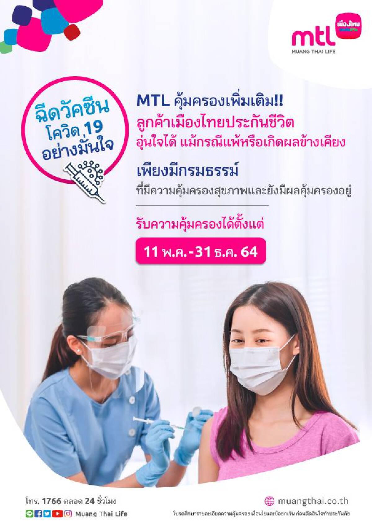 เมืองไทยประกันชีวิต เพิ่มความคุ้มครองผลกระทบหลังฉีดวัคซีนป้องกันโควิดฟรี!