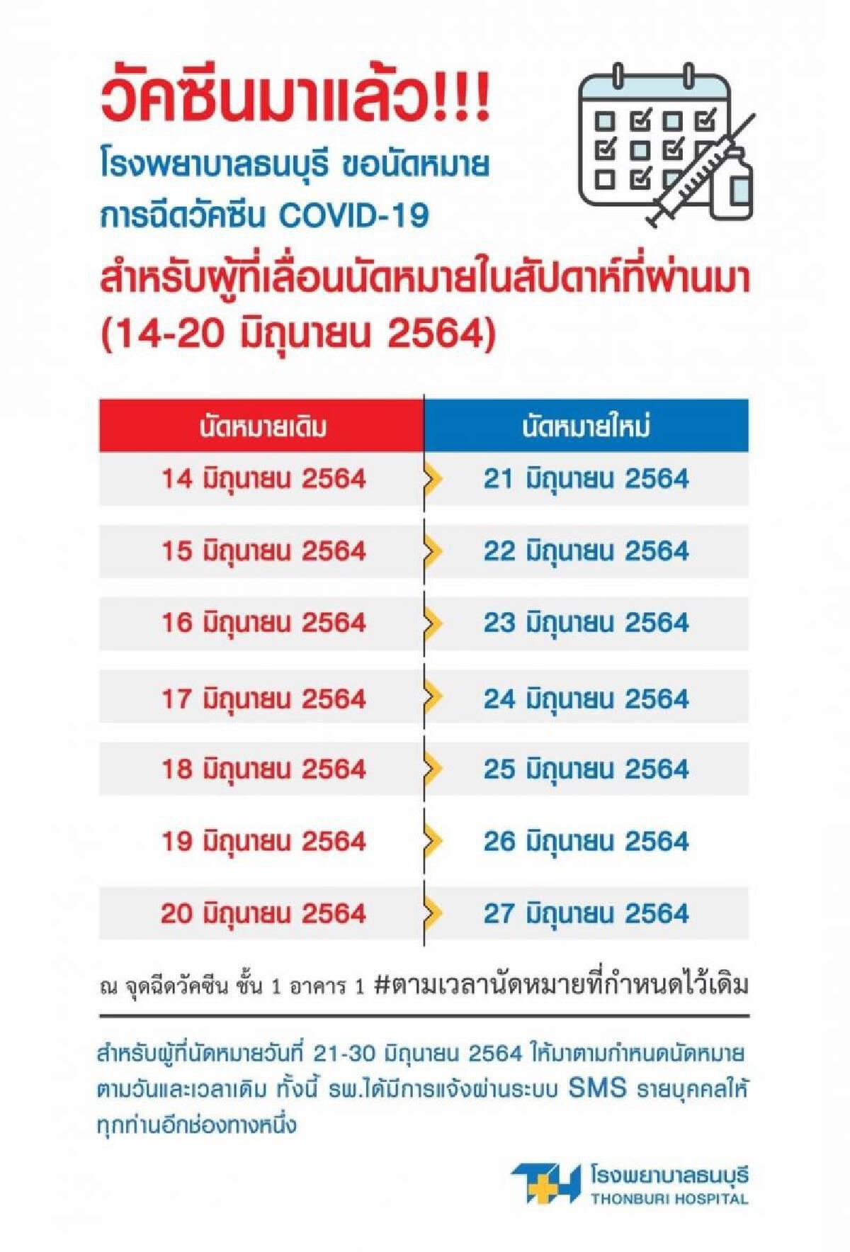 ร.พ.ธนบุรี พร้อมฉีดวัคซีนโควิด