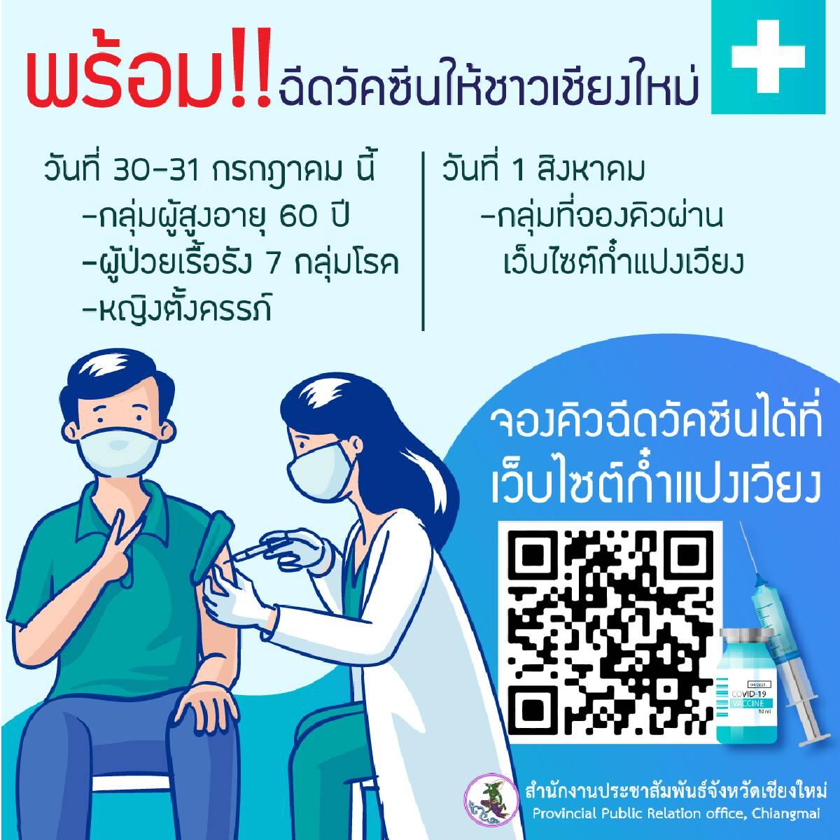 """เชียงใหม่ เริ่มฉีดวัคซีนให้ผู้ลงทะเบียนผ่านเว็บไซต์""""ก๋ำแปงเวียง""""วันนี้"""