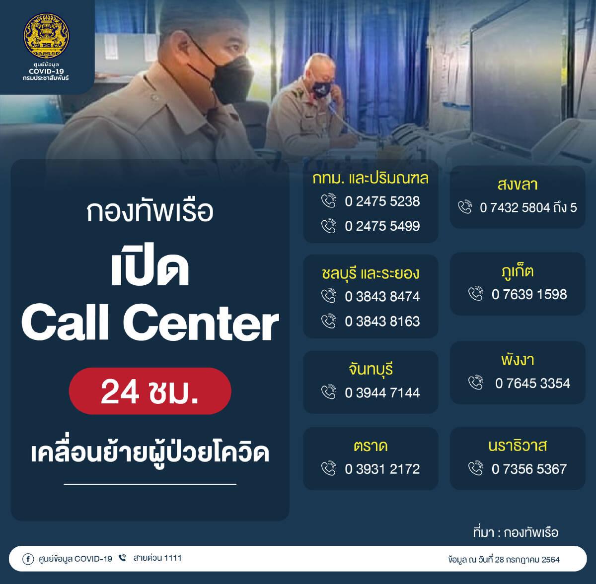 กองทัพเรือ เปิด call center เคลื่อนย้ายผู้ป่วยโควิด 24 ชม.