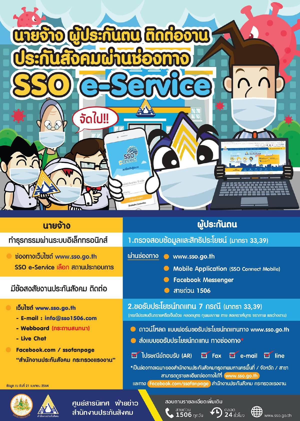 ประกันสังคม ขอความร่วมมือนายจ้าง-ผู้ประกันตน ติดต่อผ่าน SSO e-Service