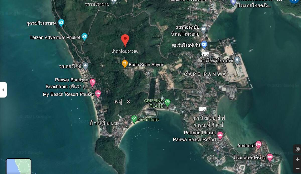 ตำแหน่งที่ตั้งน้ำตกโตนอ่่าวยน ต.วิชิต อ.เมืองภูเก็ต ขอบคุณภาพจากGoogle Map
