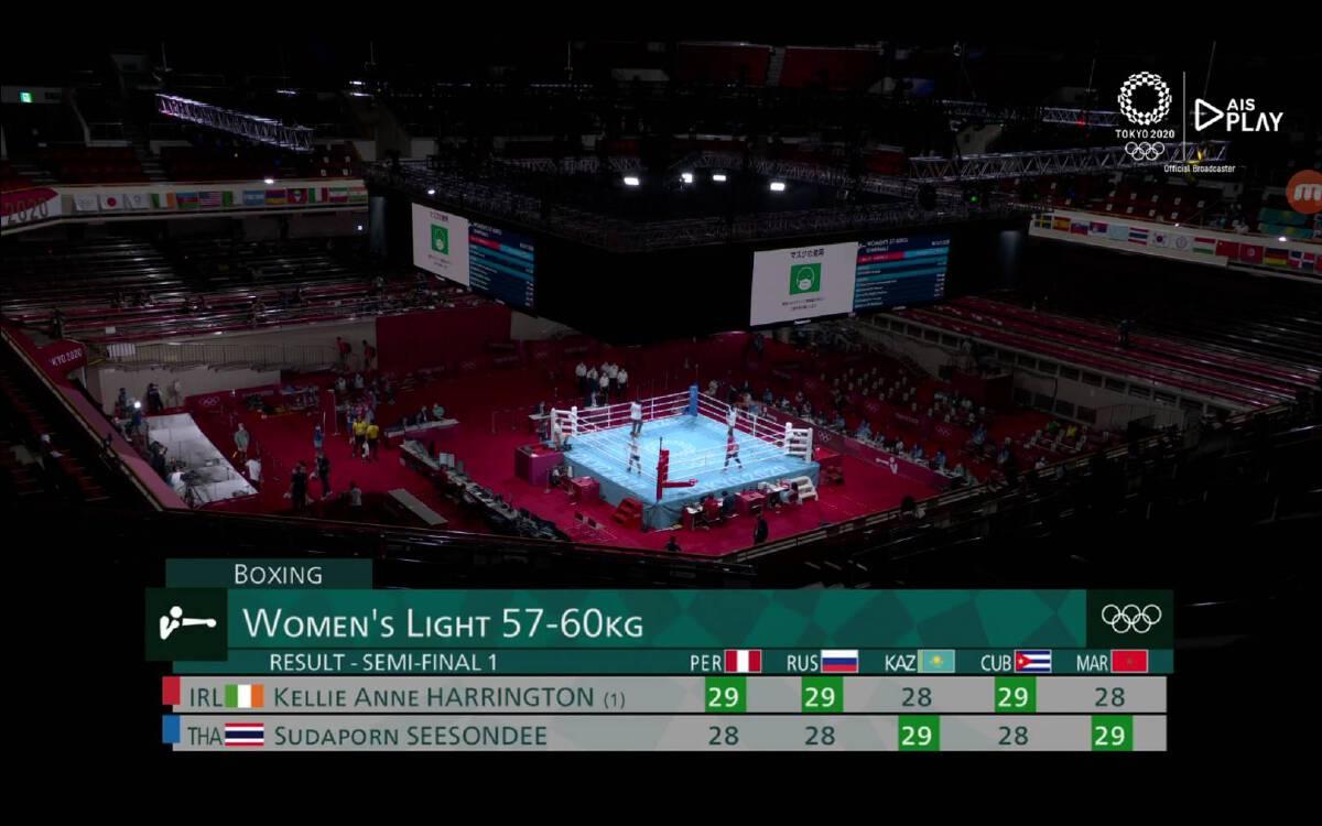 ผลคะแนนการชกรอบรองชนะเลิศของ แต้ว-สุดาพร สีสอนดี ในโอลิมปิก 2020