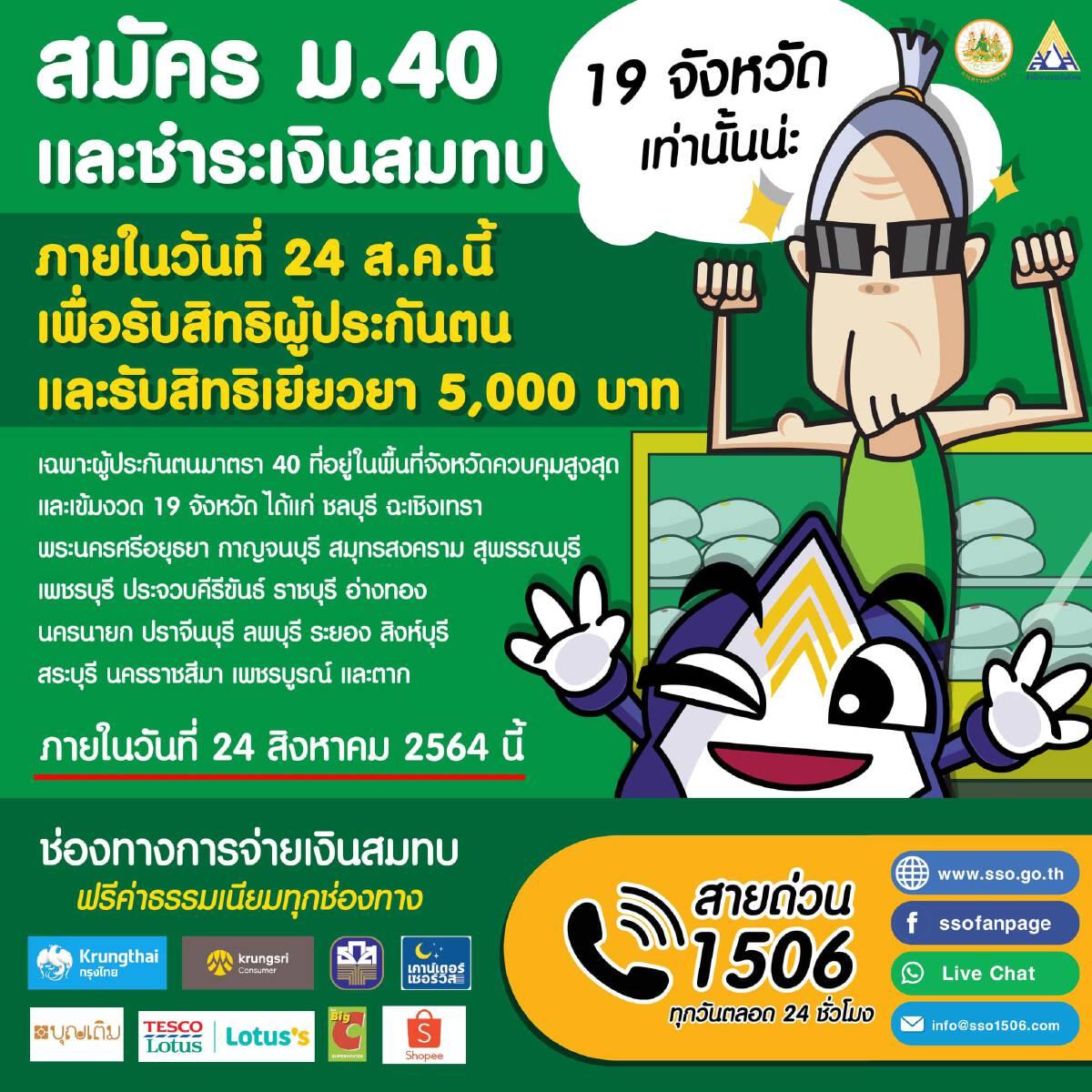 www.sso.go.th ประกันสังคมมาตรา 40 เงินเยียวยา รอตรวจสอบสิทธิ์ หลัง 7