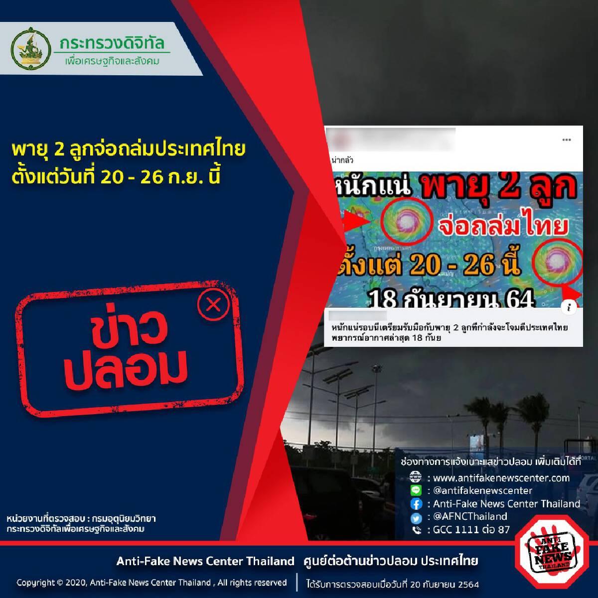 ยันไม่พบสัญญาณพายุ 2 ลูกจ่อถล่มไทย 20 – 26 ก.ย.