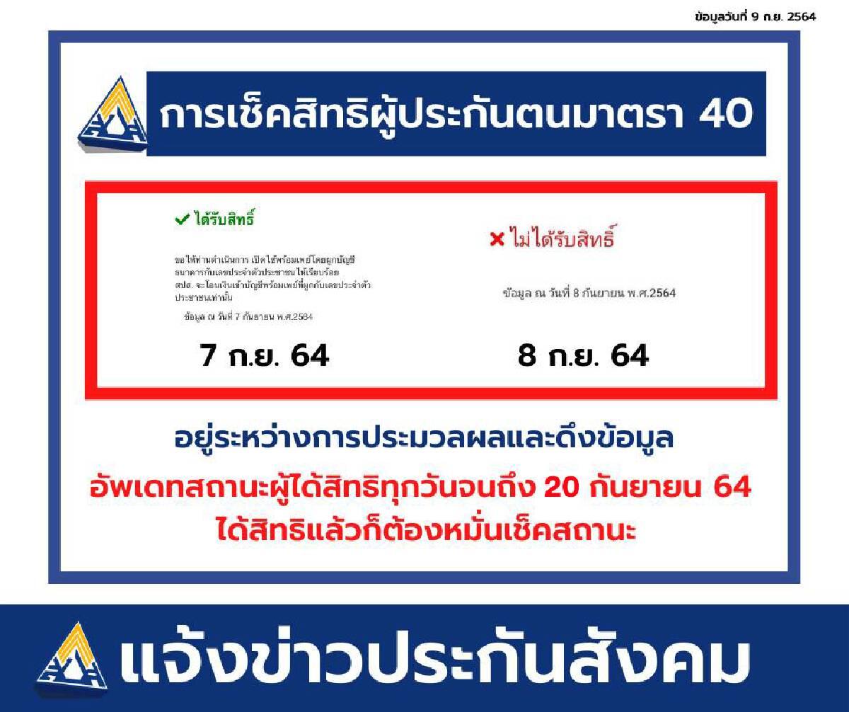 เช็คสิทธิ ม.40 www.sso.go.th รับ 5,000 บ. 19 จังหวัดสีแดงเข้ม จ่ายสมทบ 1-24 ส.ค.