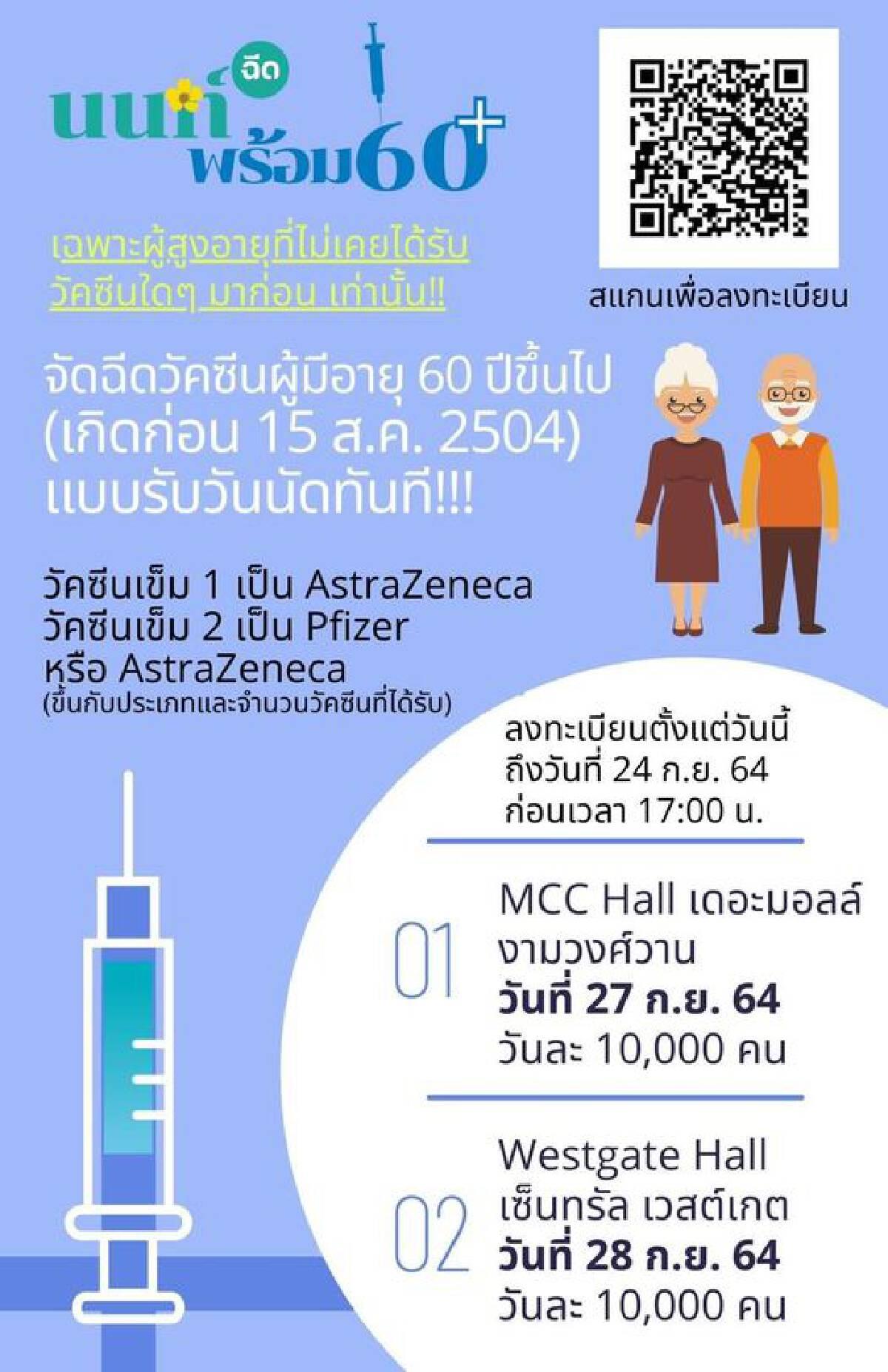 เริ่มเเล้ว นนท์พร้อม เปิดลงทะเบียนฉีดวัคซีนโควิดให้อายุ 60 ปีขึ้นไป